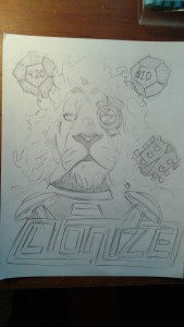 Henry Upton's sketch for the Lionize tour poster